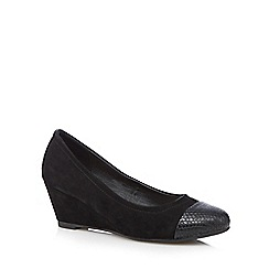 The Collection - Black suedette snakeskin toe wedge court shoes