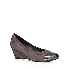The Collection - Grey suedette snakeskin toe wedge court shoes