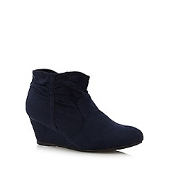 The Collection - Navy ruched cuff mid wedge ankle boots