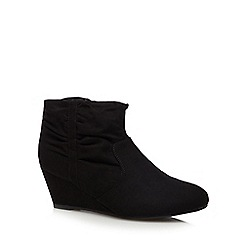 The Collection - Black ruched mid ankle boots