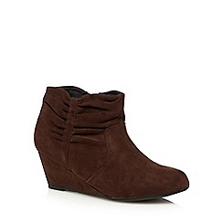 The Collection - Dark brown ruched cuff mid wedge ankle boots