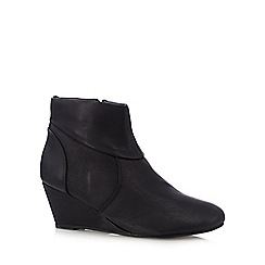 The Collection - Black folded cuff mid wedge ankle boots