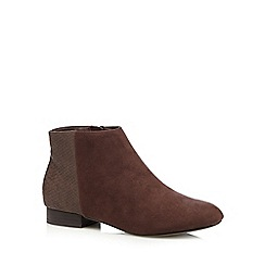 The Collection - Dark brown snakeskin heel ankle boots