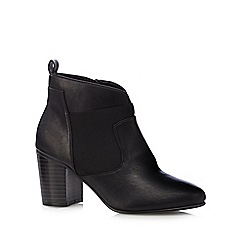 The Collection - Black stretch panel mid ankle boots