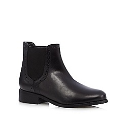The Collection - Black leather punched low chelsea boots