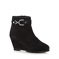 The Collection - Black suede mid ankle wedge boots