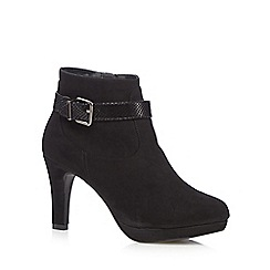 The Collection - Black suedette patent buckle strap ankle boots