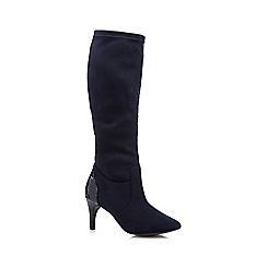 The Collection - Navy suedette stretch high leg boots