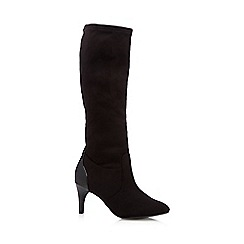 The Collection - Black suedette stretch high leg boots