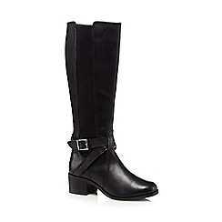 The Collection - Black leather mid heeled riding boots