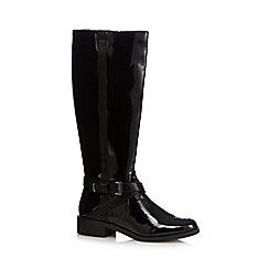 The Collection - Black patent mid heeled riding boots