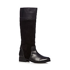 The Collection - Black suede stitch detail knee high boots