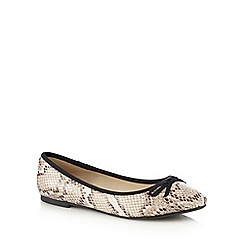 The Collection - Beige snakeskin effect flat shoes