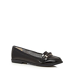 The Collection - Black patent buckle slip on shoes