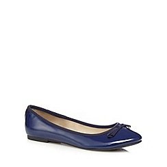 The Collection - Navy patent bow applique flat shoes