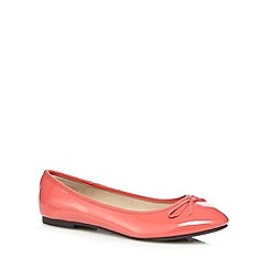 The Collection - Coral patent bow applique flat shoes