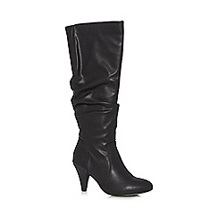 The Collection - Black slouchy mid heeled high leg boots