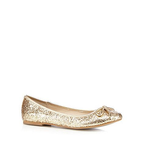Debut - Gold glitter flat pumps