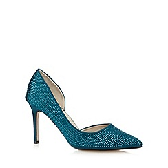 Debut - Dark turquoise mid court diamante shoes