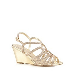 Debut - Gold glitter strap high wedge sandals
