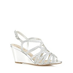 Debut - Silver glitter strap high wedge sandals
