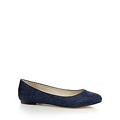 Debut - Navy rhinestone satin pumps