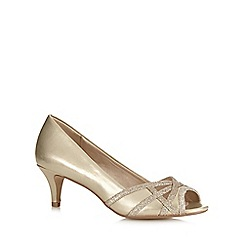 Debut - Gold cutout glittery peep toe court shoes