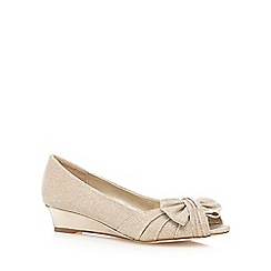 Debut - Gold glitter bow wedge peep toe shoes