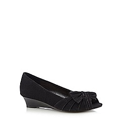 Debut - Black glitter bow open toe shoes