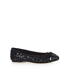 Debut - Black glitter bow detail pumps