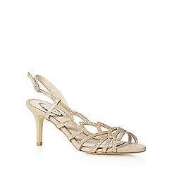 Debut - Gold diamante leaf strap mid heeled sandals