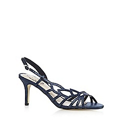 Debut - Navy diamante leaf strap mid heeled sandals