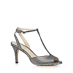 Debut - Silver textured T-bar high sandals