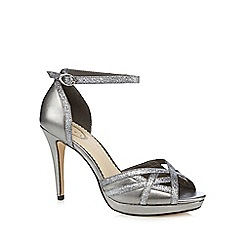 Debut - Silver glittery peep toe high heels