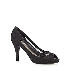 Debut - Black open toe mesh glitter court shoes
