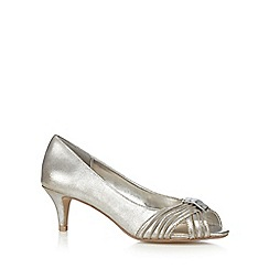 Debut - Silver metallic peep toe bead embellished court shoes