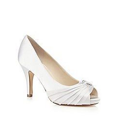 Debut - Silver pleat front wide fit high heel shoes