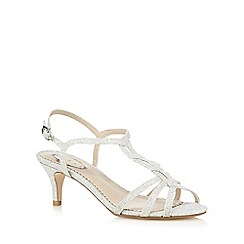 Debut - Silver glittery wide-fit mid heeled sandals