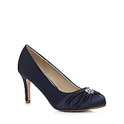 Debut - Navy satin embellished mid heeled wide fit court shoes