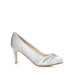 Debut - Silver satin embellished mid heeled wide fit court shoes