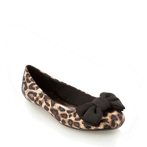 Red Herring - Brown leopard print bow ballet pumps