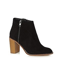 Red Herring - Black suede plait trim high ankle boots