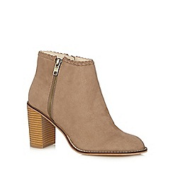 Red Herring - Taupe suede plait trim high ankle boots