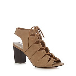 Red Herring - Tan lace-up mid heeled sandals