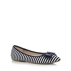 Red Herring - Navy striped bow flat shoes