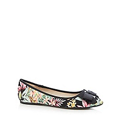 Red Herring - Black tropical print bow applique flat shoes