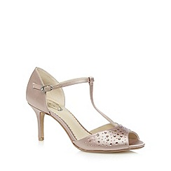 Debut - Taupe diamante high stiletto heel T-Bar sandals