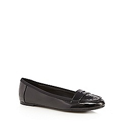 Red Herring - Black patent cut-out slip-on shoes