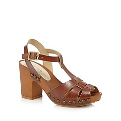 Red Herring - Tan high heeled clog sandals
