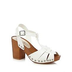 Red Herring - White high heeled clog sandals